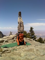 Head stand at Sandia Peak